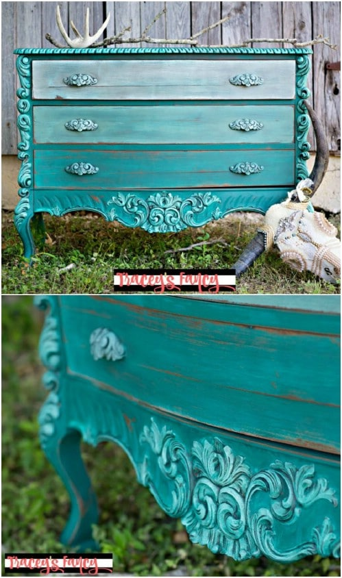 """Paint an ombre teal dresser with a """"highlighted"""" look."""