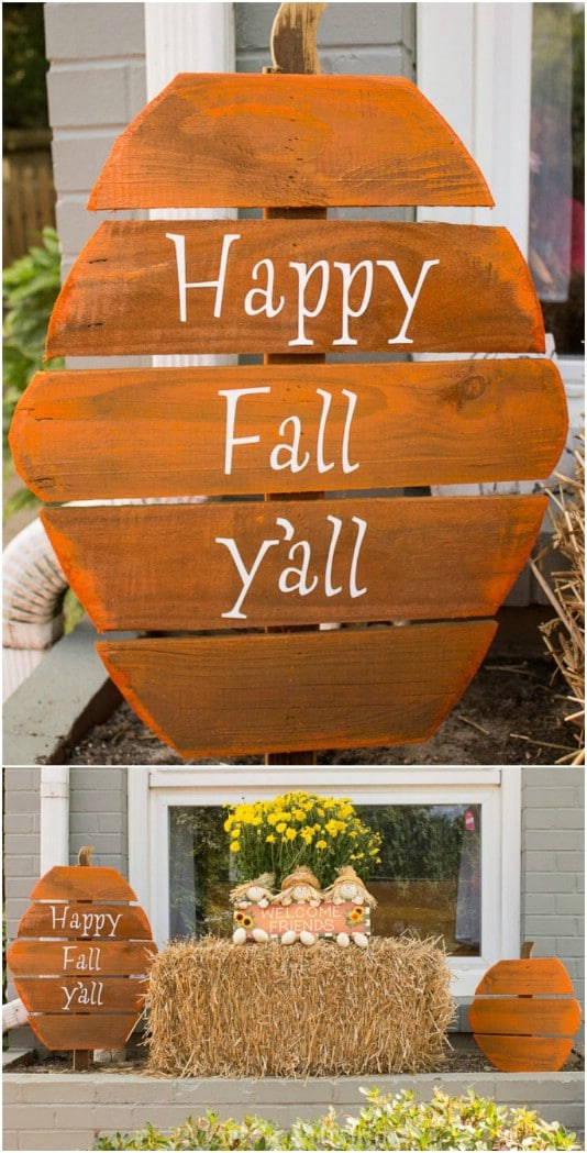 Upcycled Fence Board Pumpkins - 25 Fantastic Reclaimed Wood Halloween Decorations For Your Home And Garden