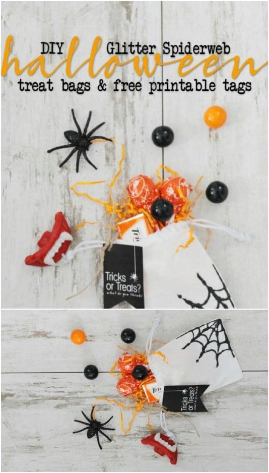 DIY Glitter Sider Web Bags