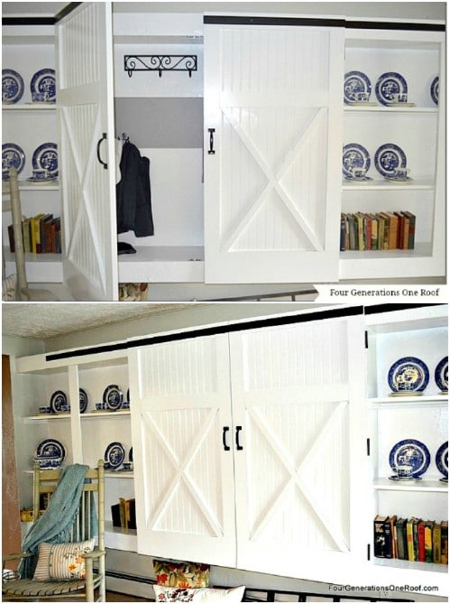 Double Bookcase Barn Doors