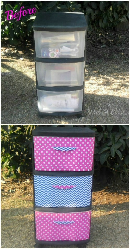 Decorate your plastic containers using duct tape.
