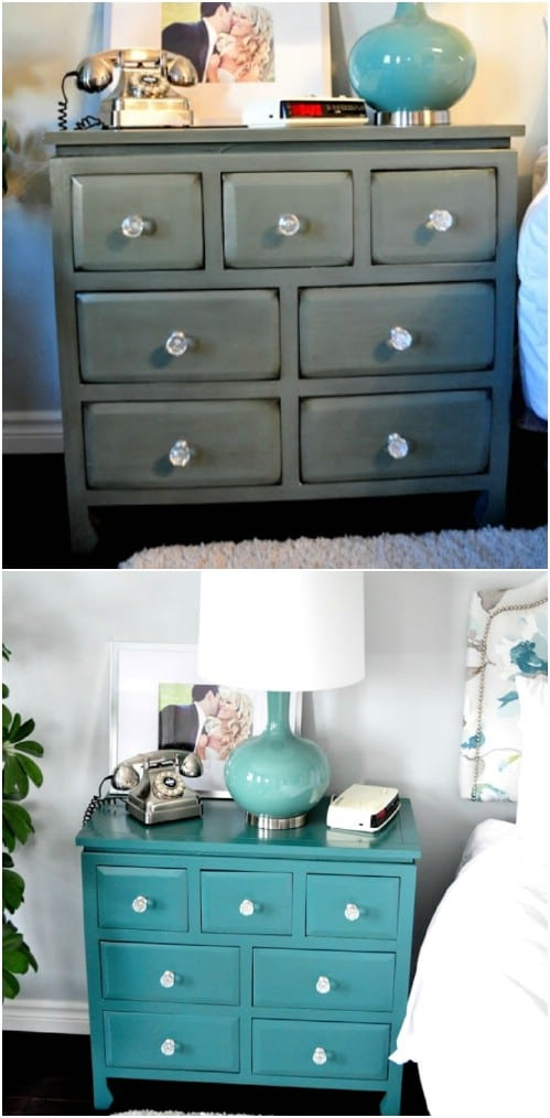 Give a boring nightstand an exquisite teal makeover.