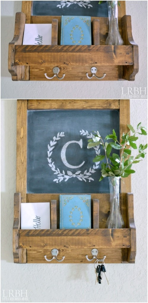 Craft a wall organizer with a chalkboard.