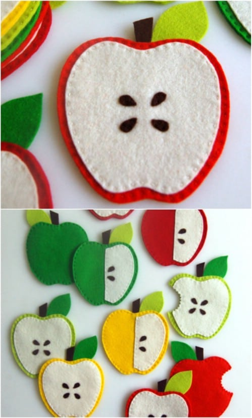 Hand Sewn Apple Coasters