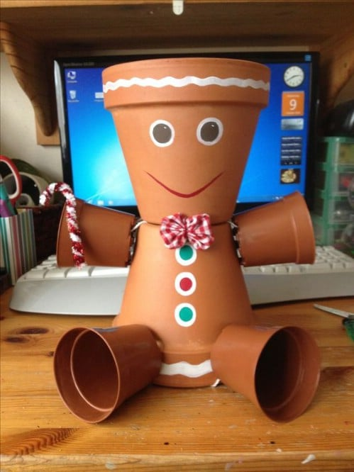 Adorable DIY Clay Pot Gingerbread Man