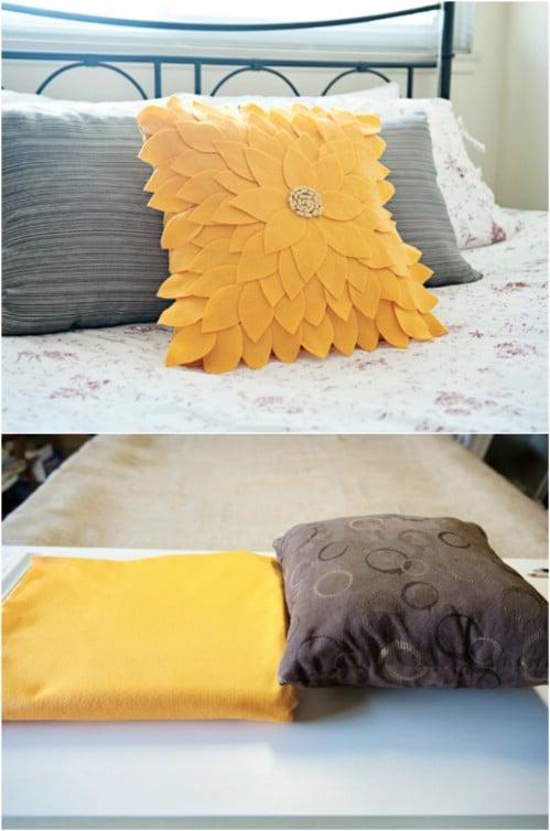DIY Felt Sunflower Pillow