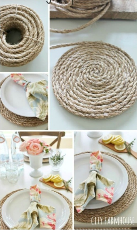 Pottery Barn Inspired DIY Jute Placemats