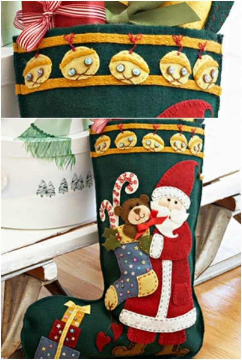 Homemade Santa Applique Stockings