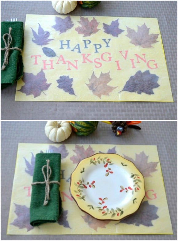 DIY Pressed Leaf Thanksgiving Placemats