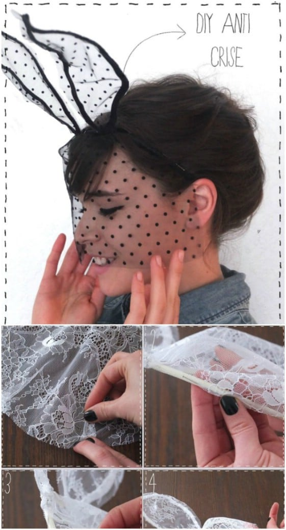 Cute Lace Bunny Mask