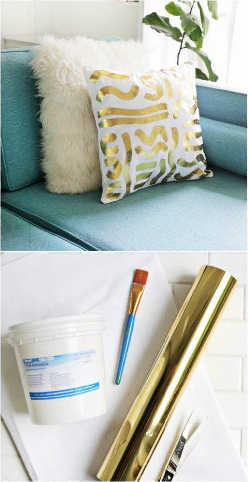 DIY Gold Foil Accent Pillow