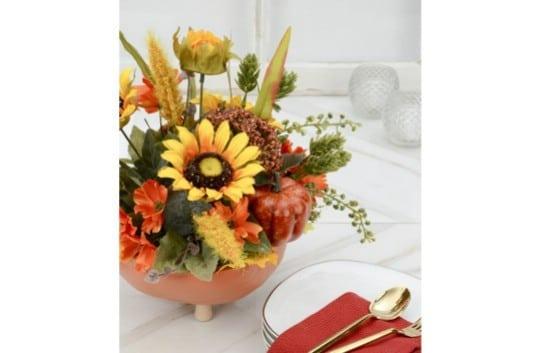 DIY Half Pumpkin Flower Basket