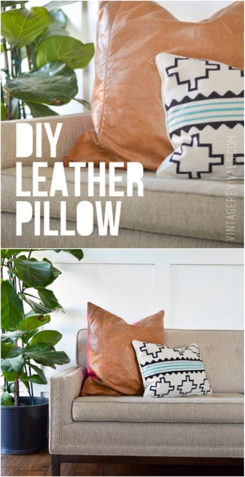 Easy DIY Leather Accent Pillow