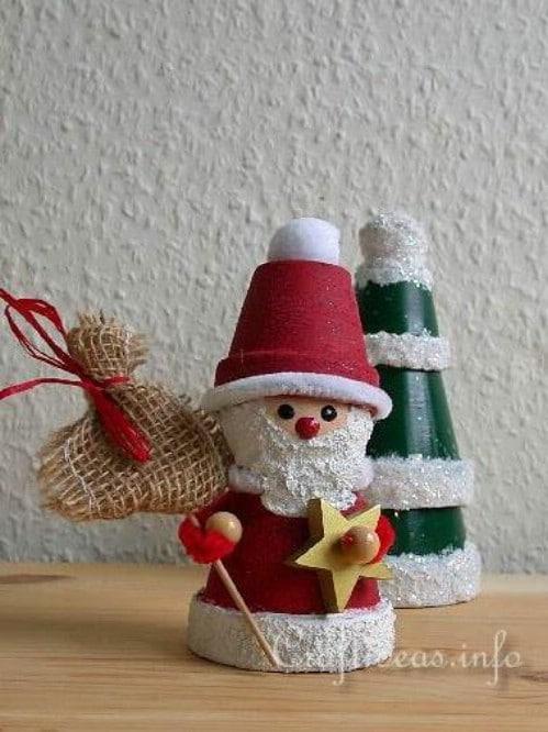 Whimsical DIY Clay Pot Santa Claus