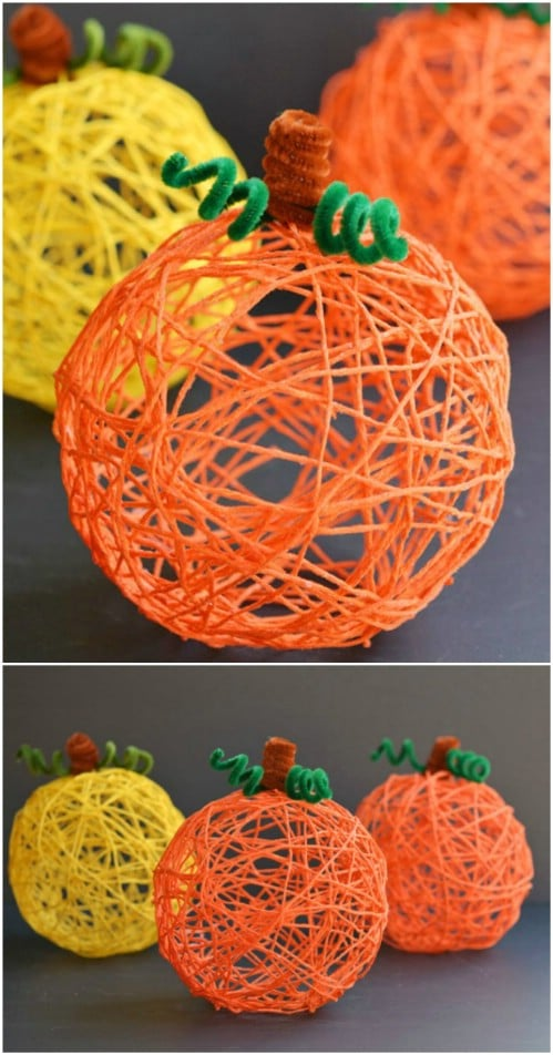DIY Yarn Pumpkin Decorations