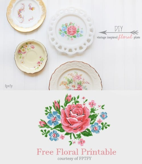 DIY Vintage Inspired Floral Plate