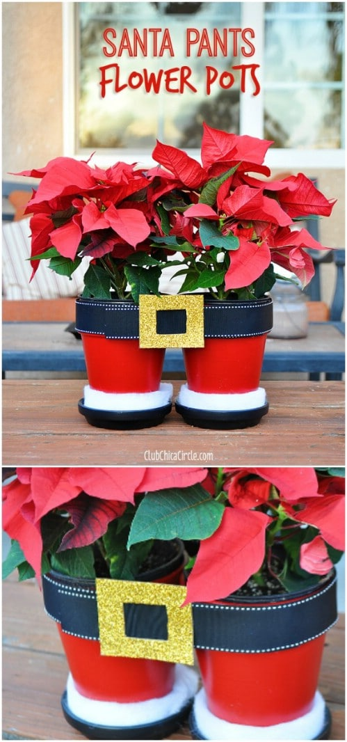 Santa Pants Poinsettia Planters