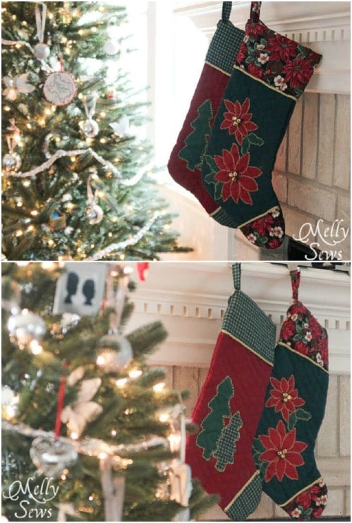 Poinsettia Appliqued Stockings