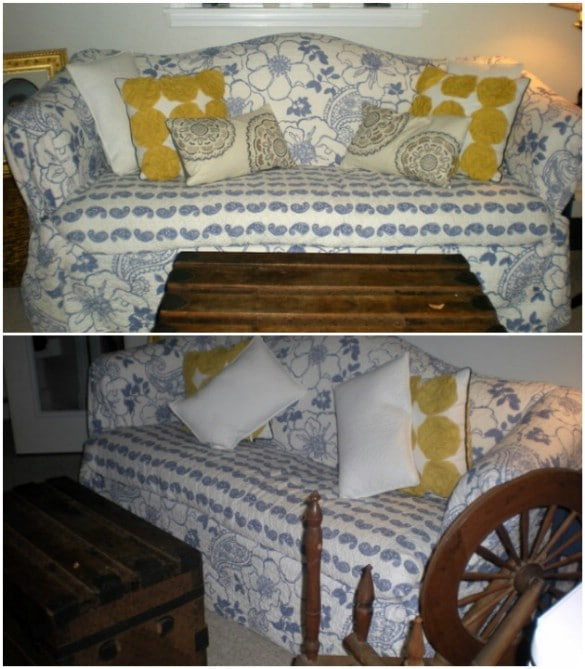 DIY Slipcover From Old Bedspread