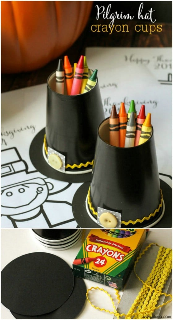 Pilgrim Hat Crayon Holders