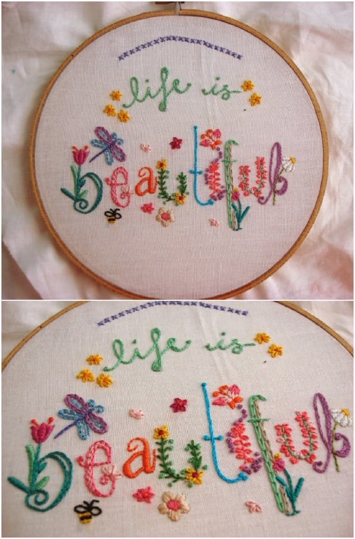 DIY Springtime Stitches Embroidery Sampler