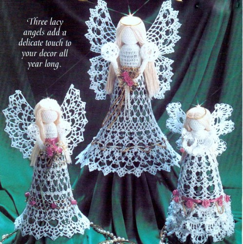 Vintage Angle Tree Topper Crochet Ornament
