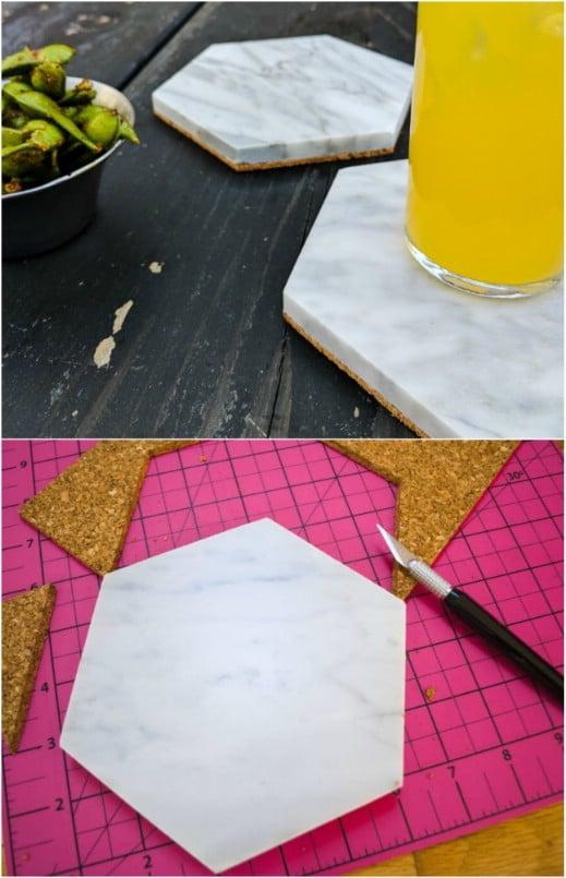 DIY Hexagon Tile Coasters