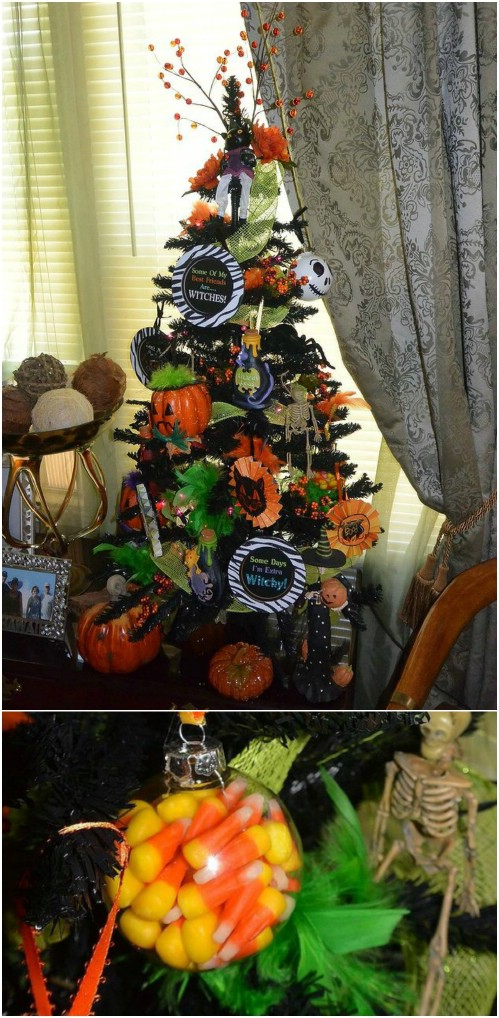Basic Black And Orange Halloween Tree