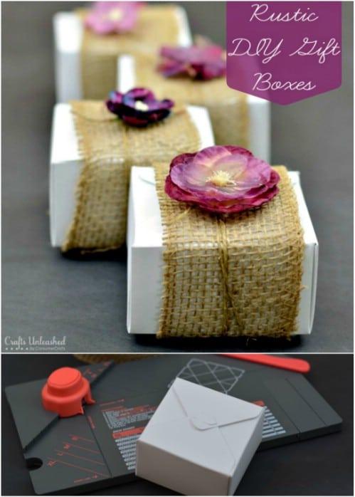 Burlap Floral DIY Gift Boxes