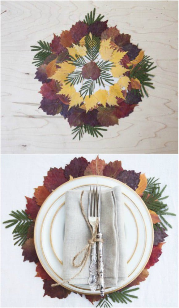 Homemade Fall Leaf Placemats