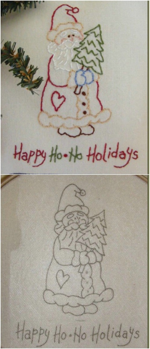 Holiday Santa Embroidery Pattern