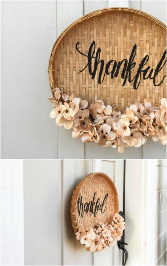 Easy DIY Thanksgiving Basket Wreath