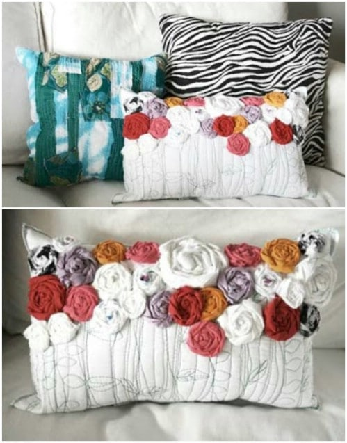 Rustic Recycled Roses Pillow