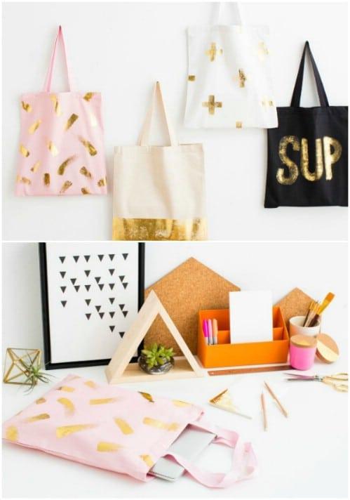 DIY Gold Foil Tote