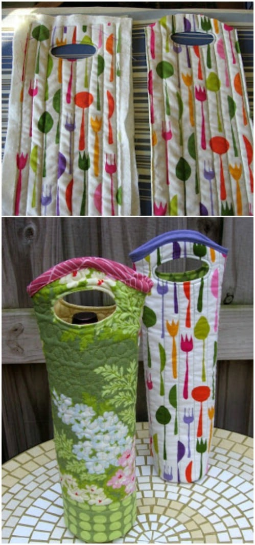 Easy DIY Quilted Wine Tote
