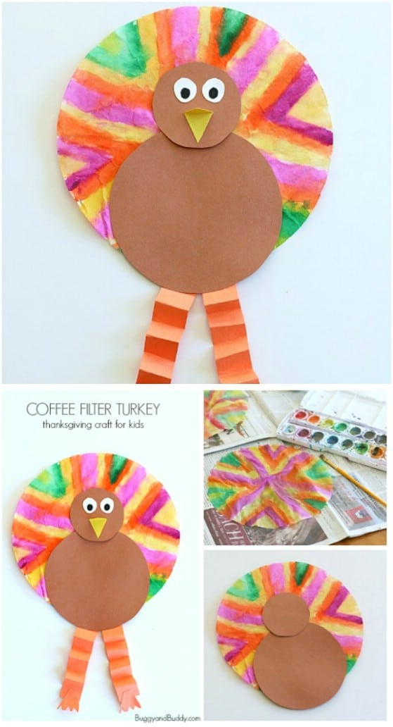 Kids DIY Coffee Filter Turkey Craft