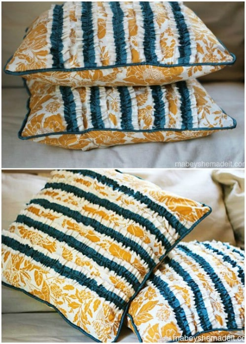 Easy Ruffled Taffeta Pillow
