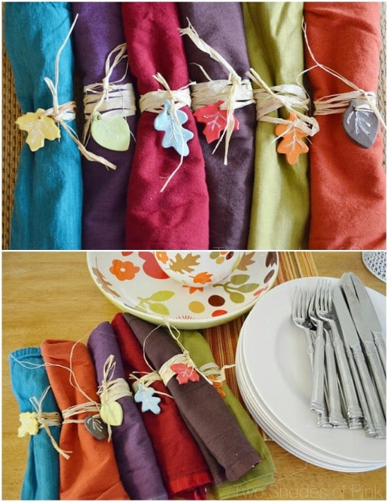 DIY Autumn Leaf Napkin Tags