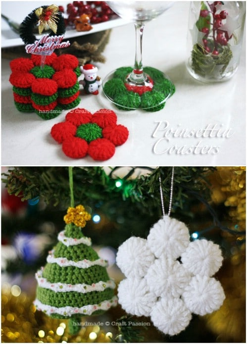 Crochet Poinsettia Coasters