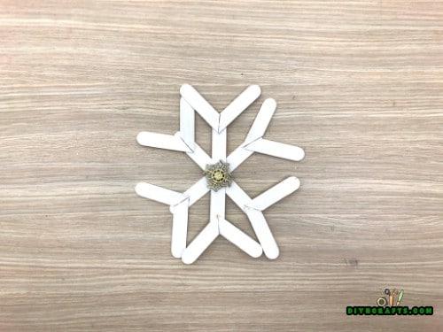 DIY Craft Stick Christmas Snowflake Ornament