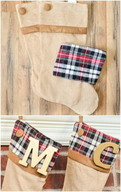 Easy No Sew Plaid Stockings