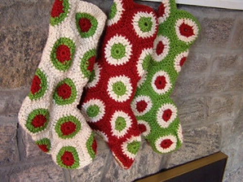 Hand Crocheted Polka Dot Stockings