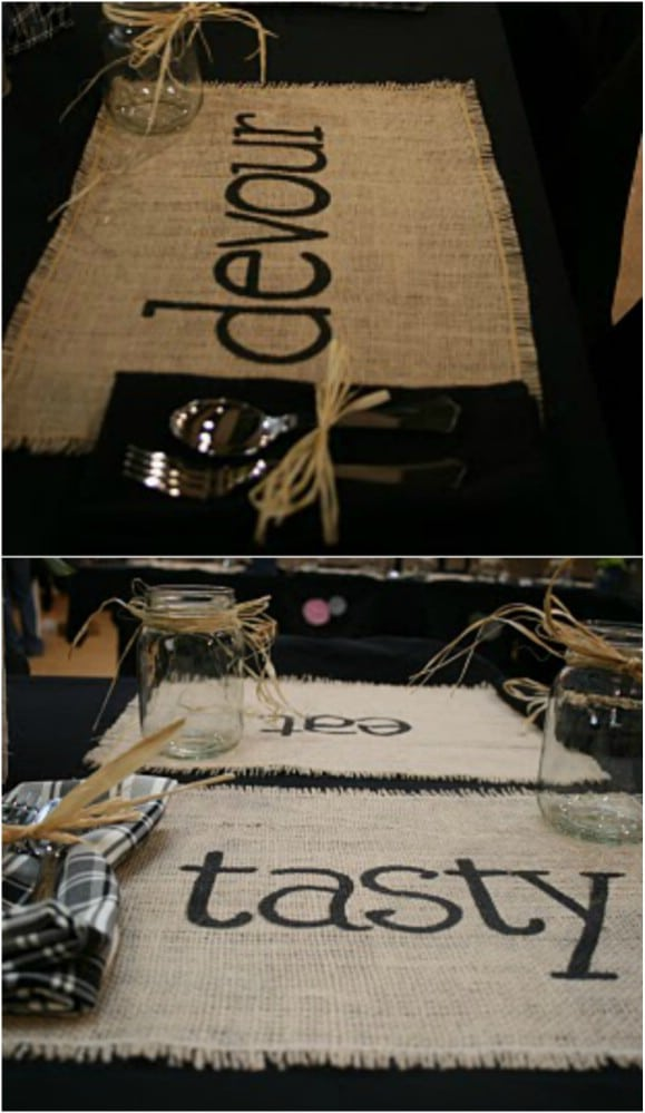 Easy Rustic Burlap Placemats