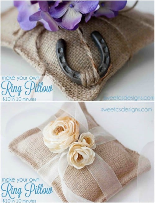DIY $10 Burlap Ring Pillow