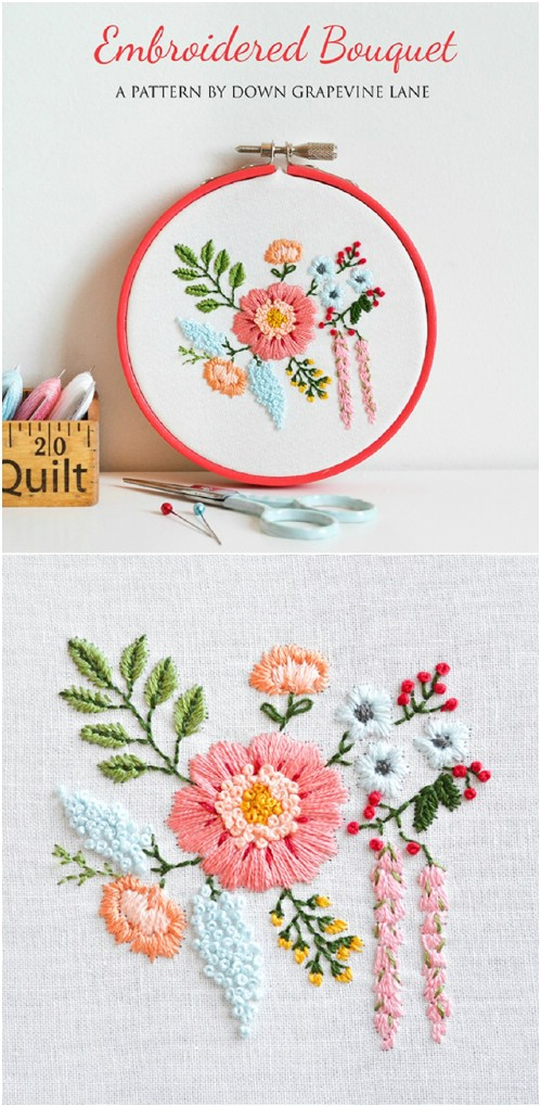Lovely Spring Bouquet Embroidery Pattern