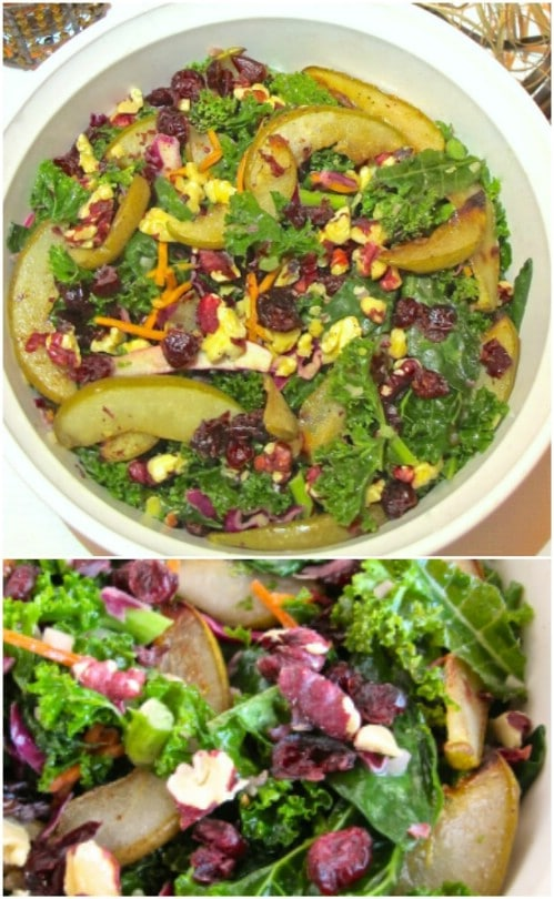 Roasted Pear, Walnut, And Kale Salad