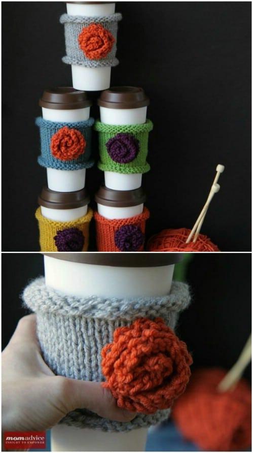 Homemade Knit Coffee Cozies