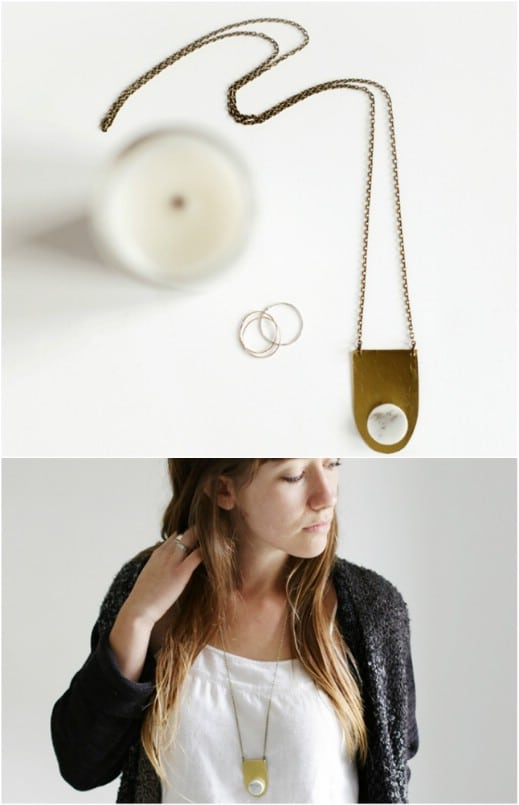 Repurposed Marble Tile Necklace