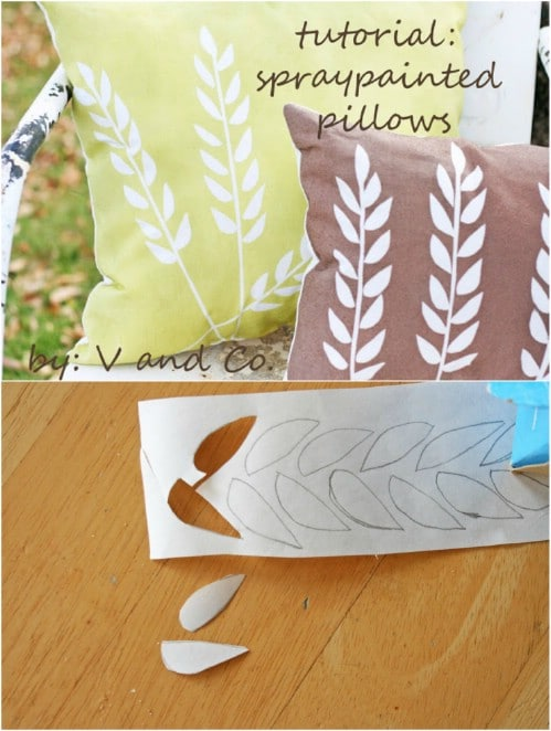 Easy Spray Painted Wheat Pillows
