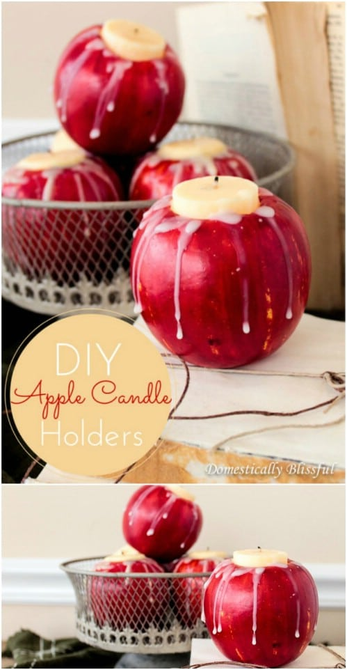 DIY Winter Apple Candleholders
